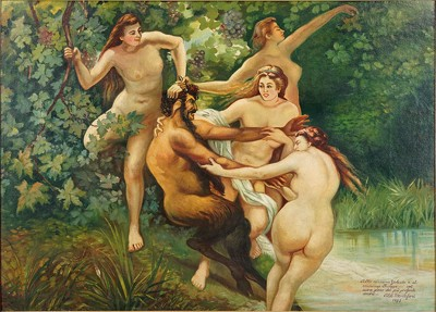 Aldo Montefiori - Nymphs and a Satyr-1933
