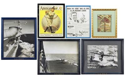 Three US Navy Photographs; Two Babe Ruth illustrations; Arthur Rackham illustration-1940