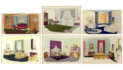 A Set of Six Prints Depicting 1940's Interiors-
