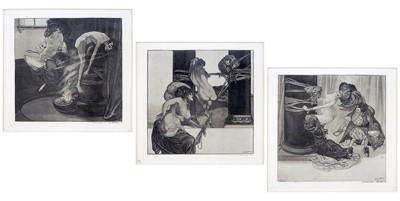 Artist Unknown - Three Viennese Decadent Art Nouveau Prints-