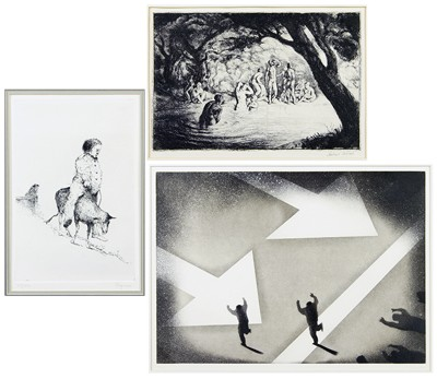 A Collection Of Three Framed Etchings: 'Caprano', 'Genove' and 'Bathers'-