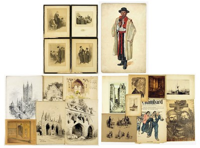A Collection of Works on Paper ('Canterbury Cathedral', 'La Vie de Madame Quelconque', 'La Feuille', 'Les Jens du Justice')-1940