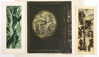 Vera Berdich-Three Etchings: 'Windows'; 'Nude and Deer'; 'Divinatory Mirror'-1967