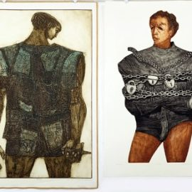 Dean Meeker-Two color intaglio prints: 'Houdini' and 'Return of Ulysees'