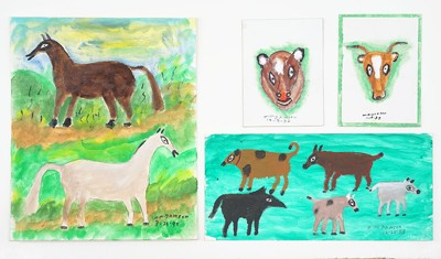 William Dawson-Four Oil Paintings: 'Two Horses', 'Fire Dogs', 'Head of a Bear', and 'Head of a Cow'-1990