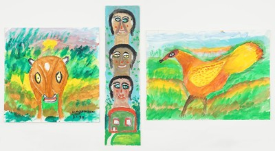 William Dawson-Three Oil Paintings: Heads and House; Dog; Bird-1990