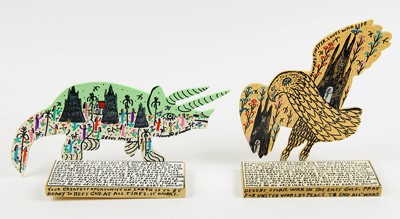 Howard Finster-Two Works: 'Desert Storm' and 'Dinosaur'-1991