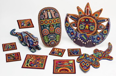 A Group of Mexican Huichol Beaded Folk Art Items-