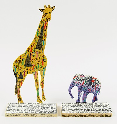 Howard Finster-Two Works: 'Giraffe' and 'Elephant'-1990
