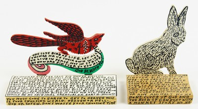 Howard Finster-Two Works: 'Rabbit' and 'Bird'-1990