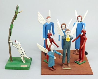 Fred Webster-A Group of Folk Art Figures: 'Gabriel, Blow that Trumpet' and 'Don't Harm the Angels, Spot!'-
