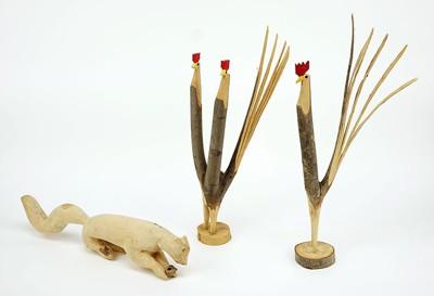Garland and Minnie Adkins-Three Carved Wood Figures-1990