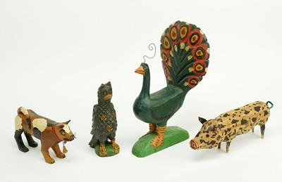 Daniel Strawser-Three Folk Art Carved Wood Figures-1989