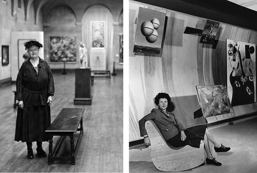 Right Katherine S. Dreier in the Société Anonyme collection exhibition at the Yale University Art Gallery Left Peggy Guggenheim seated on a Correalist Rocker, Surrealist Gallery, Art of This Century, New York, ca. 1942