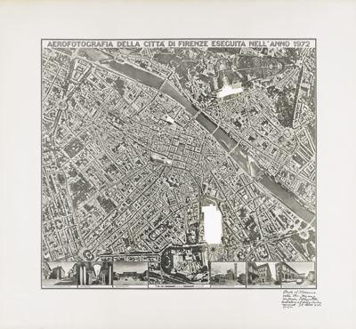 Sol LeWitt-R601 Photo Of Florence With The Stazione Centrale, Palazzo Pitti, Battistero & Palazzo Vecchio Removed-1976