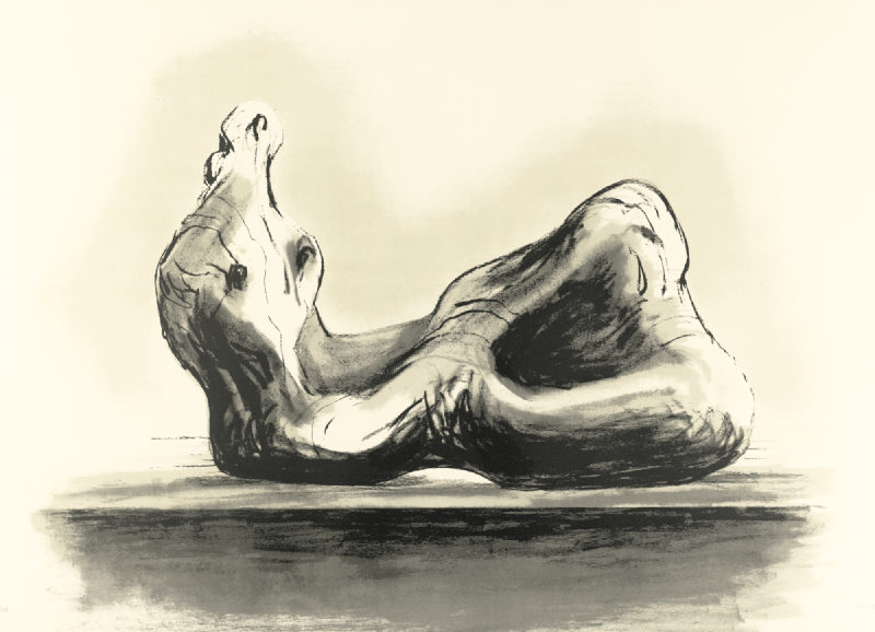 Henry Moore-Stone Reclining Figure II (C. 496)-1978