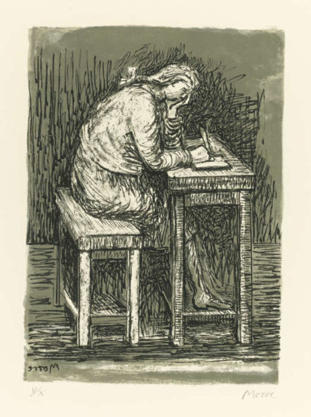 Henry Moore-Girl Seated At Desk VII (C. 384)-1974