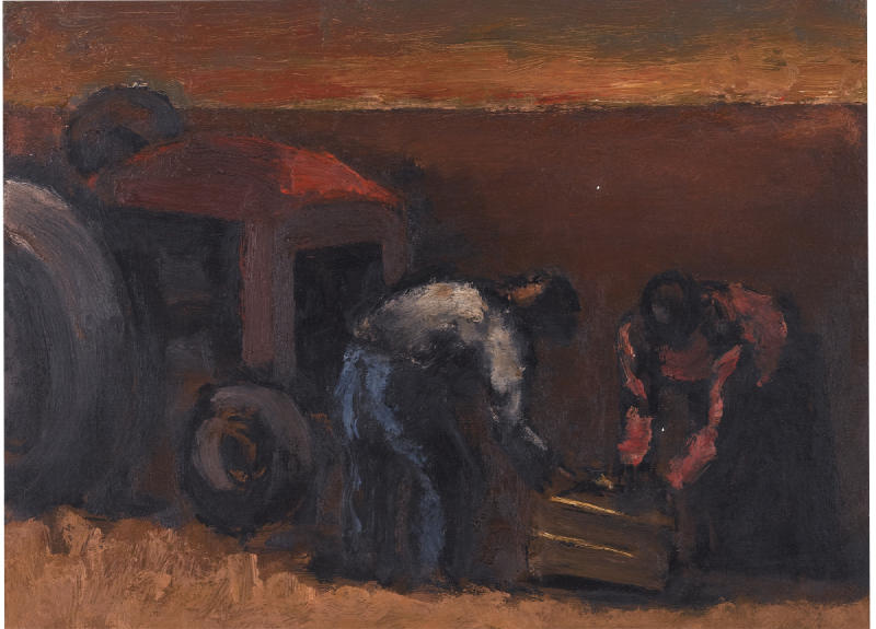 Josef Herman-Tractors And Two Workers-1964