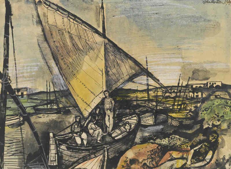 John Minton-Boats At Valencia-1949