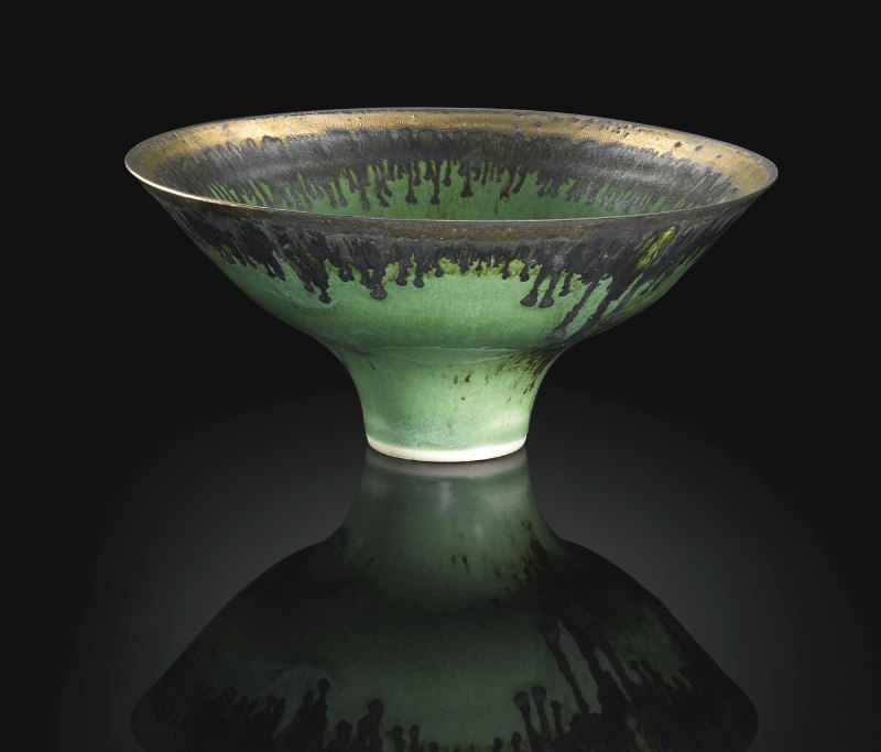 Lucie Rie-Emerald Green Bowl With Oxide Decoration-1987