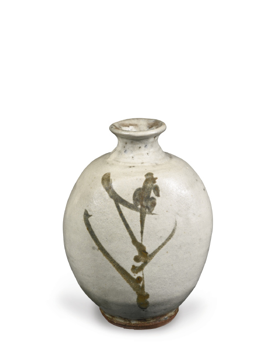 Shoji Hamada-Large Bottle With Willow Design-