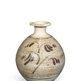 Bernard Leach-Bottle Vase With Brushed Motif