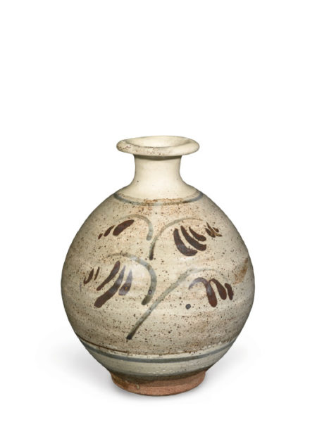 Bernard Leach-Bottle Vase With Brushed Motif-