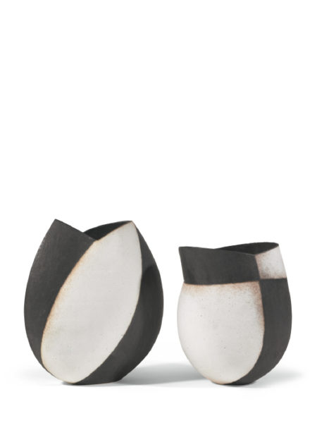 John Ward-Two Black And White Vessels-