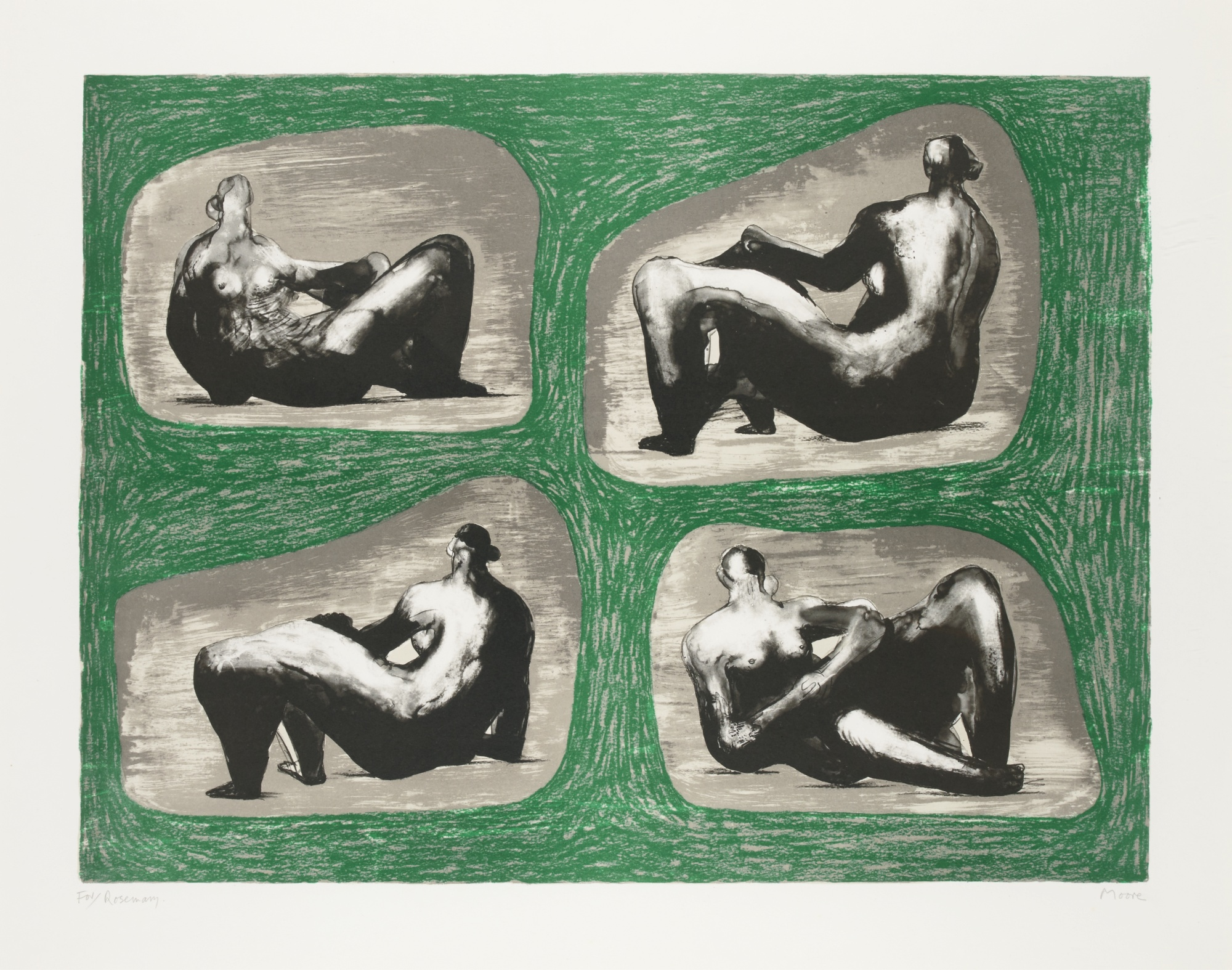 Henry Moore-Four Reclining Figures Caves (Cramer 335)-1974