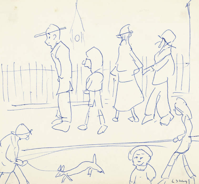 Laurence Stephen Lowry-Street Scene With Figures-