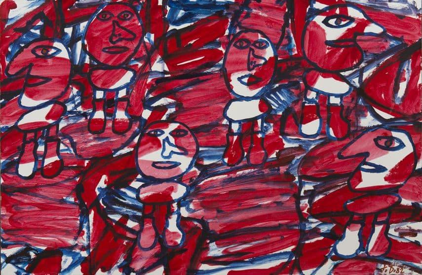 Jean Dubuffet - Site aléatoire avec 6 personnages, 1982