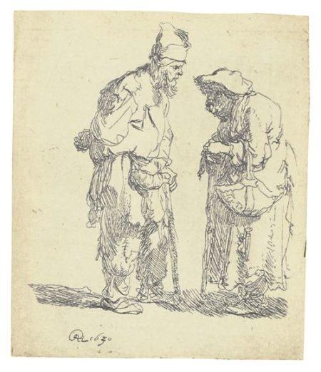 Rembrandt van Rijn-Beggar Man And Beggar Woman Conversing (B., Holl. 164; New Holl. 45; H. 7)-1630