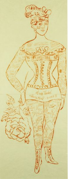 Andy Warhol-Tattooed Woman Holding A Rose (Not In F. & S.)-1955