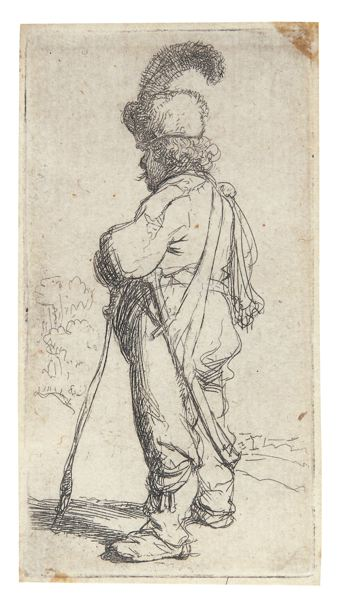 Rembrandt van Rijn-Polander Leaning On A Stick (B., Holl. 141; New Holl. 76; H. 98)-1631