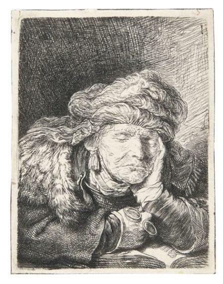 Rembrandt van Rijn-Old Woman Sleeping (B. 350; New Holl. 160; H. 129)-1937