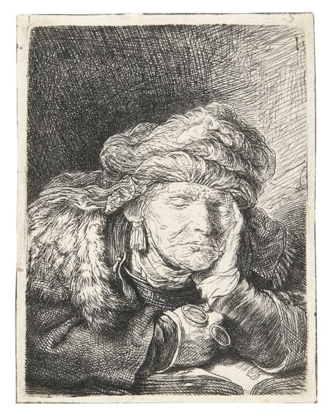 Rembrandt van Rijn-Old Woman Sleeping (B. 350; New Holl. 160; H. 129)-1937