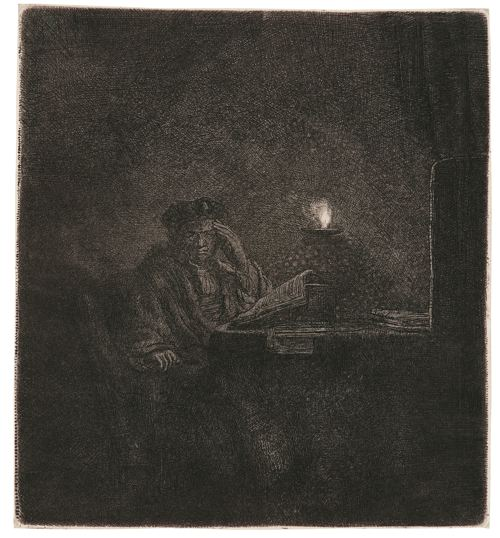 Rembrandt van Rijn-Student At A Table By Candlelight (B., Holl. 148; New Holl. 213; H. 202)-1642