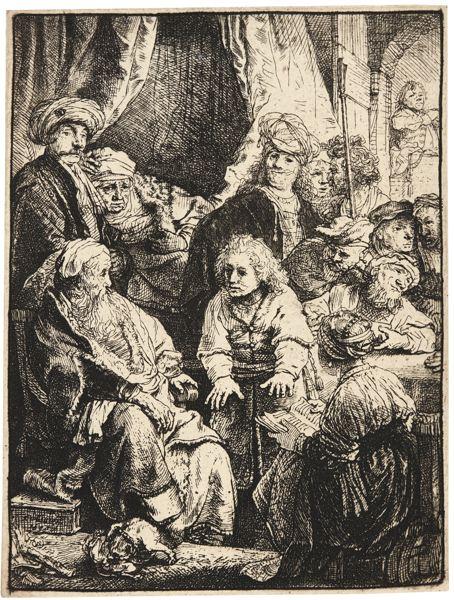 Rembrandt van Rijn-Joseph Telling His Dreams (B., Holl. 37; New Holl. 167; H. 160)-1638
