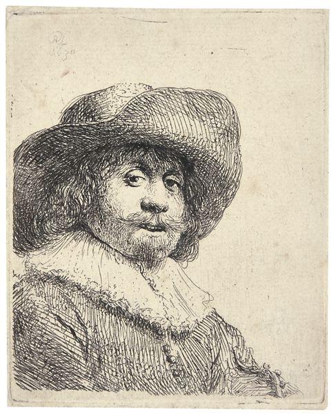 Rembrandt van Rijn-Man In A Broad-Brimmed Hat (B., Holl. 311; New Holl. 73; H. 158)-1630