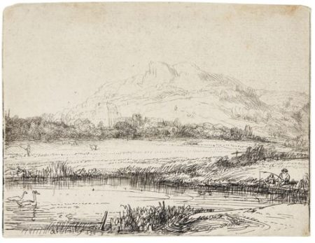 Rembrandt van Rijn-Canal With An Angler And Two Swans (B., Holl. 235; New Holl. 253; H. 238)-1650