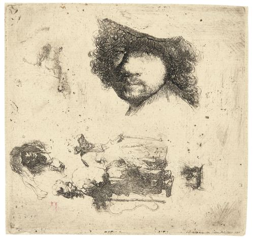 Rembrandt van Rijn-Sheet Of Studies: Head Of The Artist, A Beggar Couple, Heads Of An Old Man And Old Woman, Etc. (B., Holl. 363; New Holl. 115; H. 90)-1632