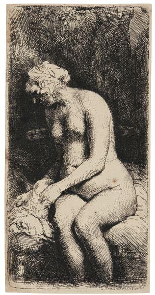 Rembrandt van Rijn-Woman Bathing Her Feet At A Brook (B., Holl. 200; New Holl. 309; H. 298)-1658