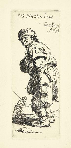 Rembrandt van Rijn-A Peasant Calling Out: 'Tis Vinnich Kout' (B., Holl. 177; New Holl. 131; H. 114)-1634