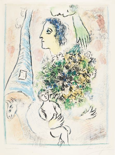 Marc Chagall-Tribute To The Eiffel Tower (M. 416A)-1964