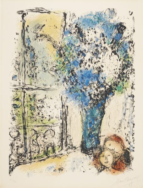 Marc Chagall-The Blue Bouquet (M. 710)-1974