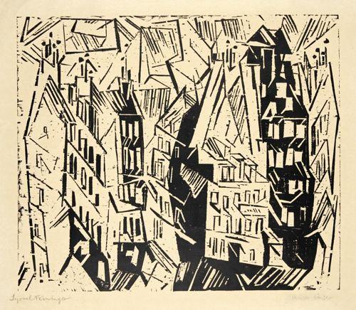 Lyonel Feininger-Pariser Hauser (Houses In Paris) (Prasse W 76)-1918