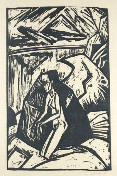 Erich Heckel-Kniende Am Stein (Dube 258 A)-1914