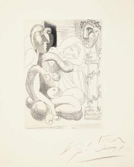 Pablo Picasso-Dormeuse Et Sculptures (B. 258; Ba. 306)-1933