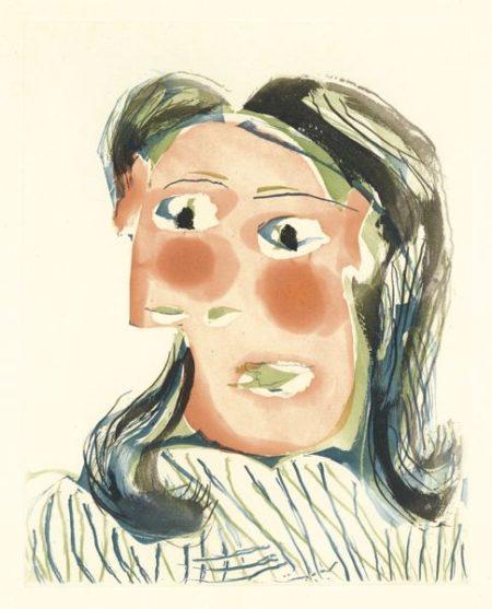 Pablo Picasso-Tete De Femme No. 6. Portrait De Dora Maar (B. 1338; Ba. 654)-1939