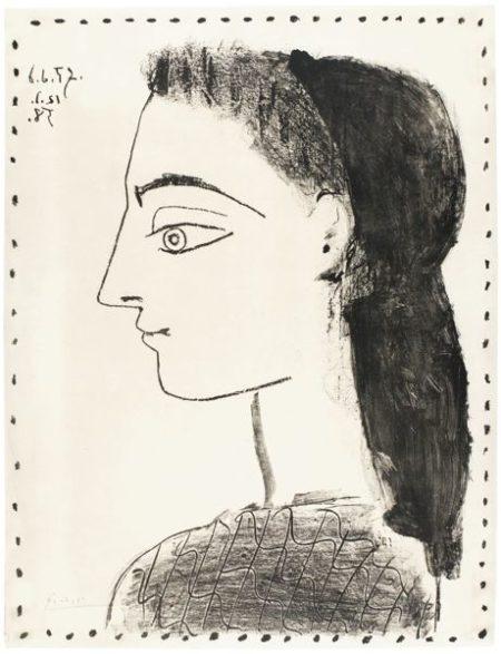 Pablo Picasso-Jaqueline Au Mouchoir Noir (B. 873; M., Pp. 316)-1958